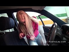 Dude fucks blonde in car repair shop pov