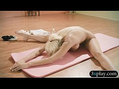 Trainer and sexy babes doing yoga naked