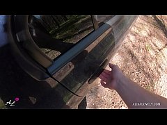 Amateur Сouple gets Fucked in the Car Forest - Outdoor POV