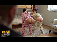 Fake Hostel Young girls in pajamas have fun with a thick cock squirt