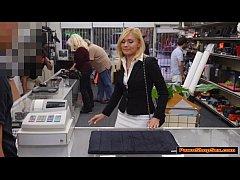 Blonde MILF tries to enjoy Pawnshop owners cock for cash