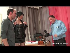 Amateur casting Huge boobed french babe in fishnet stockings hard fucked
