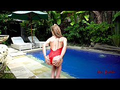 fit teen passionate fucked and facialized near the outdoor pool. mia bandini
