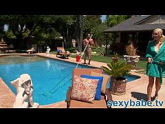 Pool guy nails big tit blonde babe