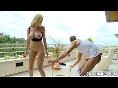 Exotic Babe Sucks Him off on the balcony