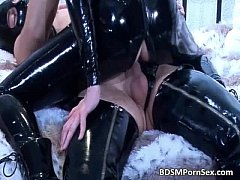Horny kinky couple in latex have good