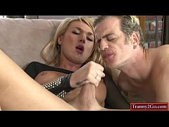 Busty blonde tranny Aubrey Kate sucked by and anal fucks dude
