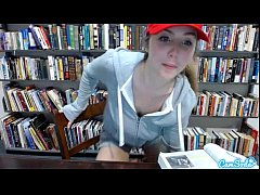 teen latina in public library showing off her huge tits and massaging her pussy