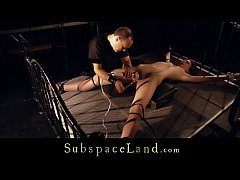 Subgirl tied and leg spead for intense bondage massage