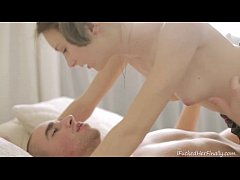 Sweet teen with pigtails Polina rides her boyfriend's dick