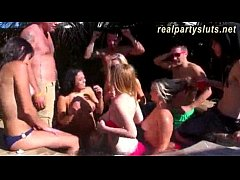 Group of party sluts turn pool party into a hot...