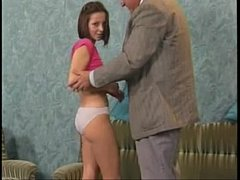 sdShy teen have fun with grandpa