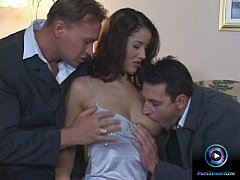Angel Dark sucking and fucking two dicks at the same time