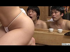 Japanese big breast bathhouse companions featuring an extra voluptuous Reiko Nakamori wearing nothing but a tiny loincloth washing a very lucky client in HD with English subtitles
