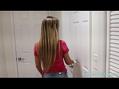 slutty wife kimber lee blows the ac repair man for facial