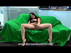 Curvy brunette babe with baby blue eyes touches her pussy for your pleasure