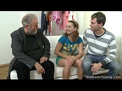 old goes young - sveta and her lover bring an older friend