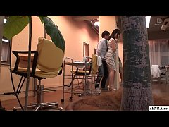 JAV Mizuna Wakatsuki hair salon covert blowjob and fingering Subtitles