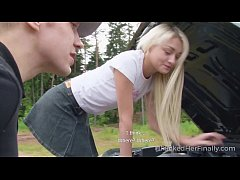 I Fucked Her Finally - Sweet blonde tries to fix the car but gets fucked instead