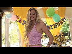 "18yo Young Blonde Jessie Andrews - celebrates her 18th bday by bating her beautiful box on camera! Major hot coming of ""porn"" age clip! See the full video at EarlMiller.com, where Erotic Art Goes Hardcore!"