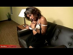 Well rounded ebony t-girl strips off and plays with bigtits