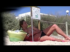 Big tits euro girl in the beach