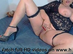Black haired MILF stocking rubbing her pussy on webcam www.hotcambitches.com