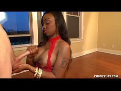 ebony in red handjob