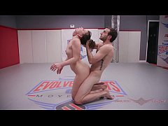 Nude wrestling has Juliette March fingered and fucked roughly at Evolved Fights