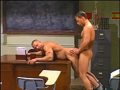 The coach taking hunky students big cock down his throat and ass