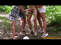 Busty british femdoms tugging sub outdoors