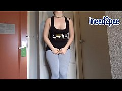 Ami female pee desperation & wetting her panties pants