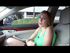 Sexy blonde chick Jenna Marie gets pussy banged hard in the car