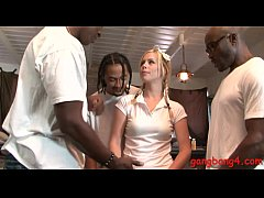 Slutty blonde babe banged by black men