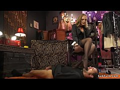 Extreme hot blonde mistress Mona Wales in lingerie whips ass to male slave with head in box then anal fucks him with strap on dick in doggy