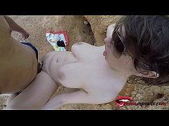 amateur couple fucking on public beach and he cums on her big tits \/ Miriam Prado