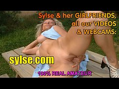 Dildo flashing outdoor in parc and threesome of 2 MILF in workshop