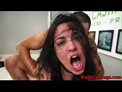 Brutal casting for tattooed teen babe
