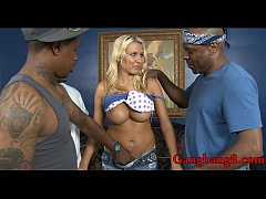 Big boobs blonde whore analyzed by massive black cocks