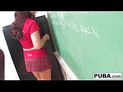 Petite bubble butt Casey stays after school to satisfy her pussy