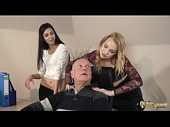 Old boss has sex at the office with his 2 hot manager assistants