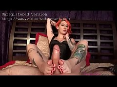 Tattooed redhead gives amazing footjob - Live foot models at prettyfeetcams.com