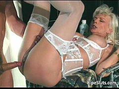 Gorgeous mature blonde gets pierced