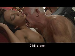 Young maid tastes her's old boss cock
