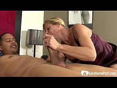 Blonde wife makes him put on a condom before he ravishes her love tunnel.