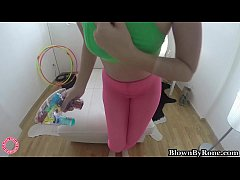 Nerdy Blonde Hula Hooper Samantha Rone Bounces on Dildo!