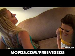 Fat booty blonde convinces her brunette GF to join an orgy