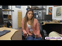 Kinky woman gives a ncie blowjob and then gets drilled by nasty pawn dude in his office