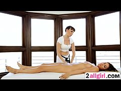 Hot lesbian action on massage with Dana DeArmond and Rylin Rae-and-rylin-rae-1