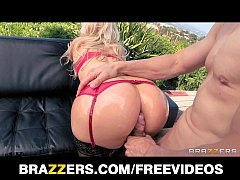 Big-booty blonde is oiled up for some double-penetration